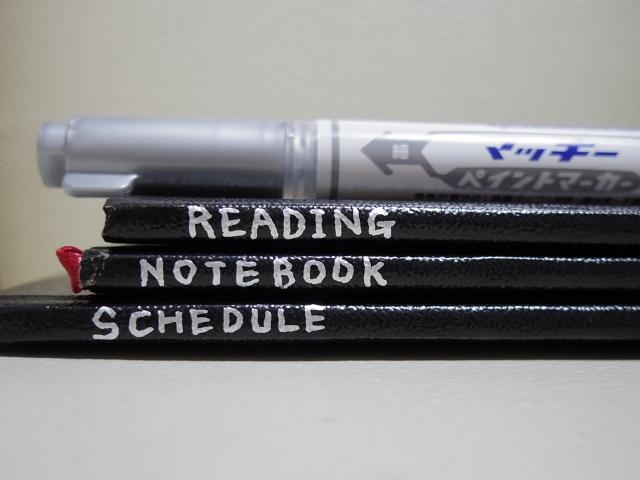 無印良品の「手のひらサイズポケットノート」(無印野帳)にノートの題目を書き込む